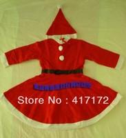 5set/lot!Adults Christmas suit/Non-woven fabric Women's Santa Clause Dress 3-in-1 set (dress,hat,belts)