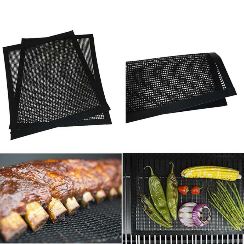 BBQ Grill Mesh Teflon Non-Stick Heat Resistance Improve Thermal Conductivity Mats Use on Gas Charcoal Electric Barbecue