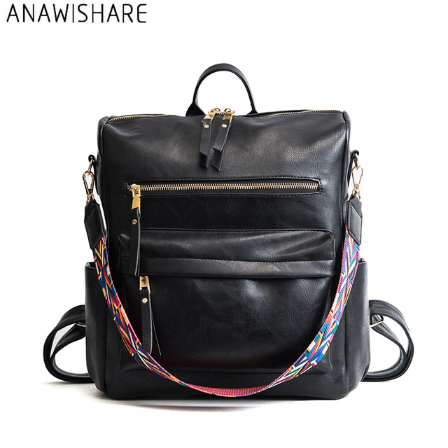 03166f4c91a4 ANAWISHARE Women Leather Backpacks Large School Bags For Teenagers Girls  Laptop Bookbag Black School Backpacks Mochila Feminina