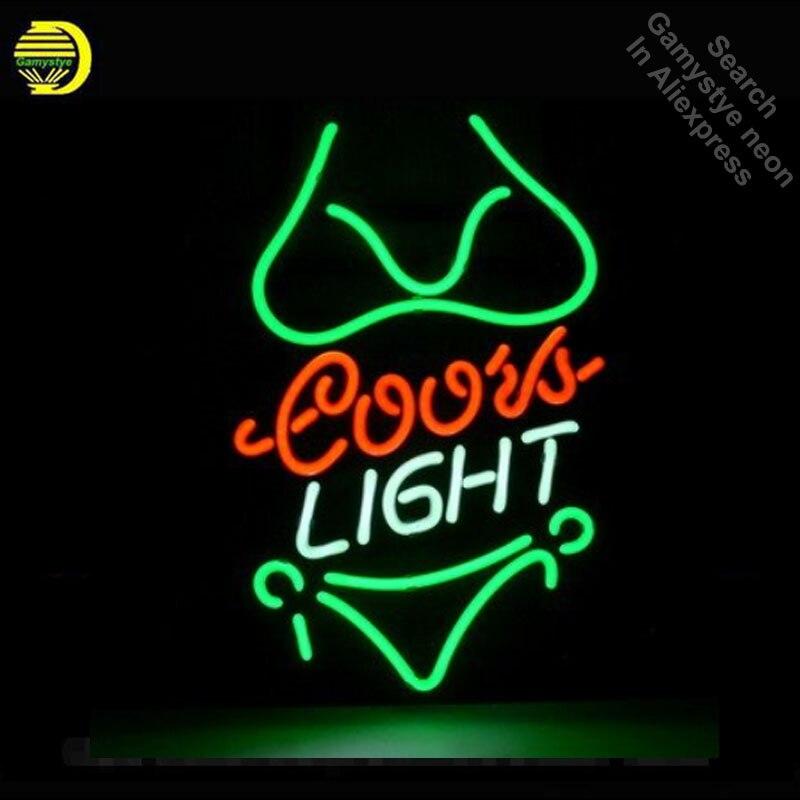 Coors Light Bikini Girl Sinais de néon luzes Recreação Home Da Parede Arte Único Tubo de Vidro Real neon Icônico Sinal da Luz de Néon lâmpadas