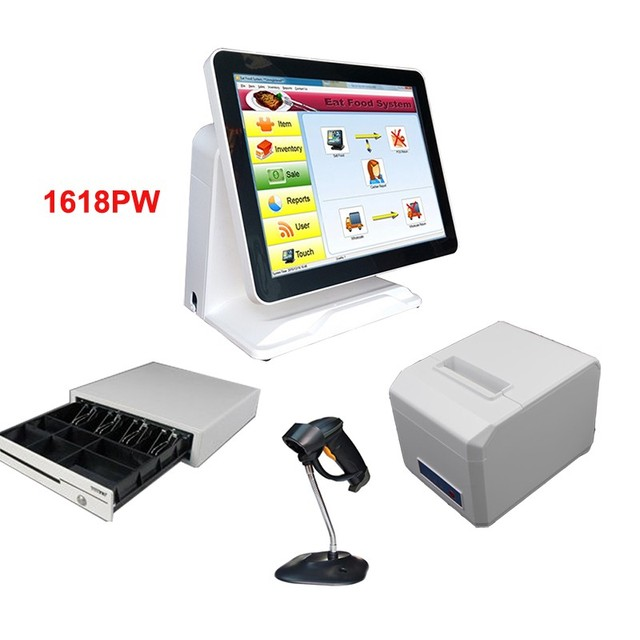 Flash Promo Free shippingwhole set 15 inch dual screen with POS system with code scanner printer and cash box