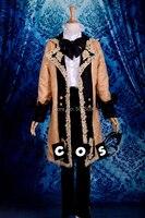 Свет Orange кружева Vocaloid косплей средневековые мужская куртка Ренессанс кружева платье Костюм Короля