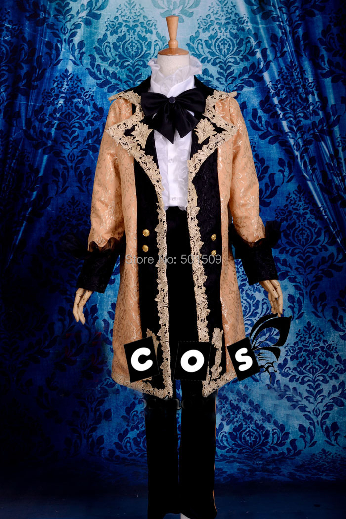 light orange lace VOCALOID cosplay medieval mens jacket Renaissance lace Gown king costume