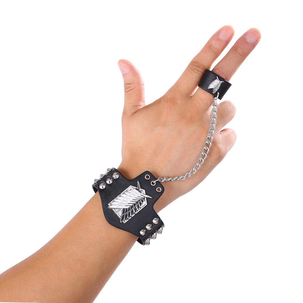 Anime Attack on Titan Shingeki no Kyojin Punk Bracelet with Ring Wristband Gift