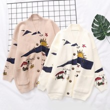 Women Sweaters Embroidery Knit Cardigans Christmas Sweater Print V-Neck Casual Loose Long