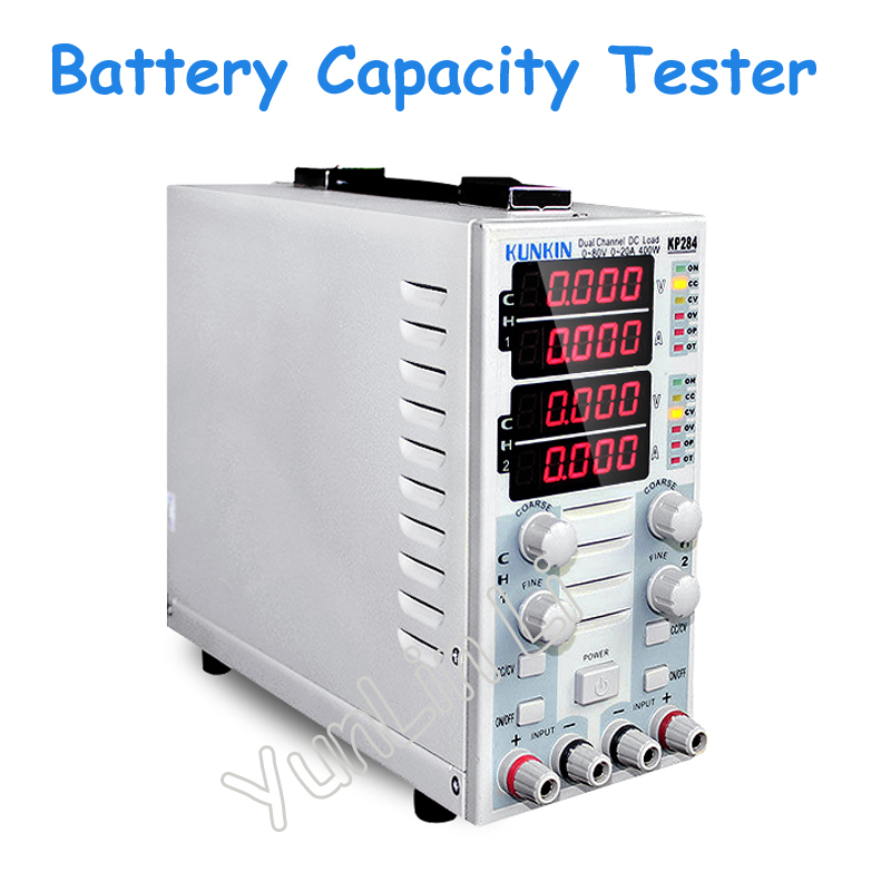 Dual Channel DC Electronic Load Tester Battery Capacity Test LED Display Load Meter 220V KP284 battery capacity testing electronic load nicd and nimh mobile power supply tester tec 06 lithium battery