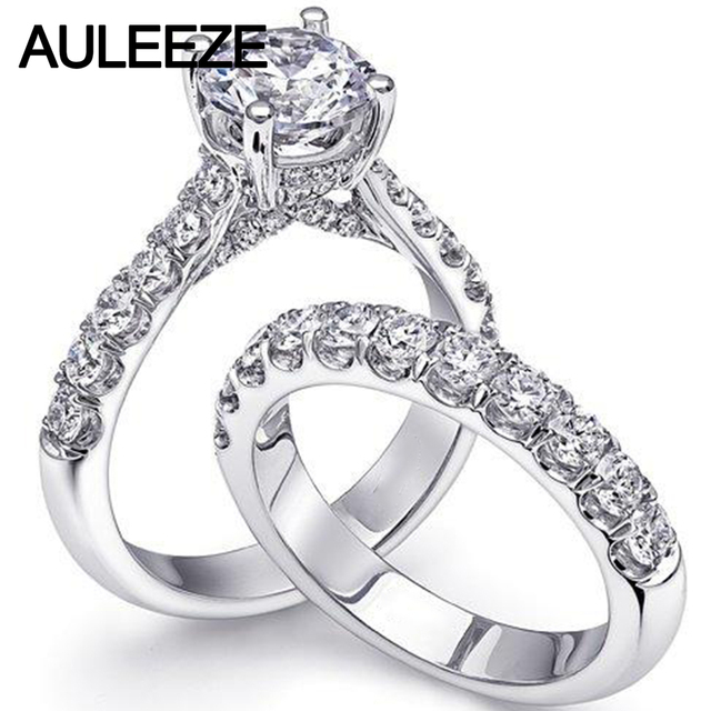 Auleeze 1ct Moissanites Bridal Wedding Sets 14k Solid White Gold Ring Lab Grown Diamond Engagement Rings