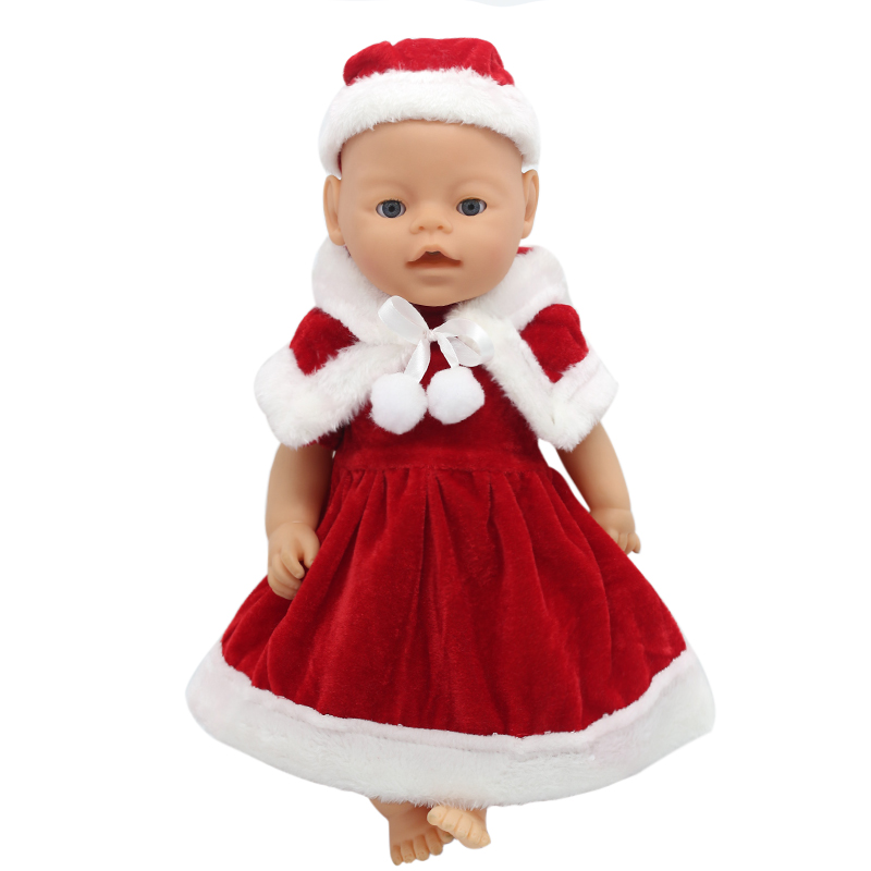 Zapf Baby Born Doll Clothes Red Christmas Dress Suit Fit 43cm Zapf Baby Doll Accessories Christmas Gift X-168 drop shipping baby born doll clothes for 43cm zapf doll accessories japan fashion print dress outfit children birthday gift 055