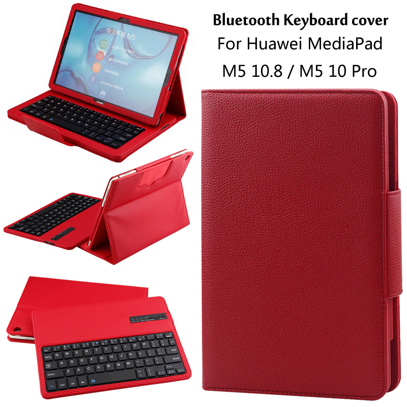 For Huawei MediaPad M5 10 Pro / M5 10.8'' Tablet CMR-AL09 CMR-W09 Detachable ABS Bluetooth Keyboard PU Leather Case Cover +Gift