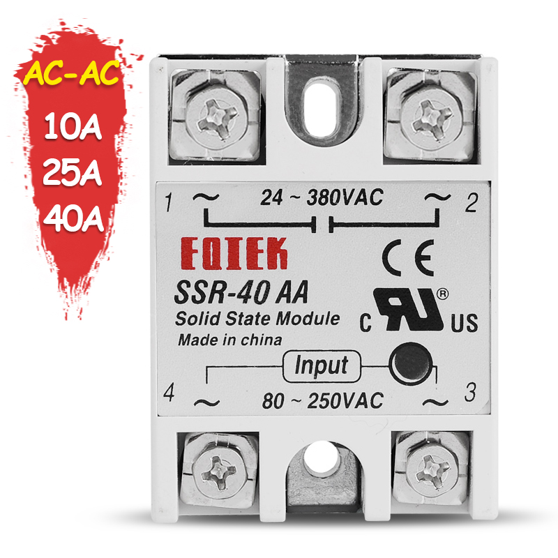 AC-AC Solid State Relay SSR 10A 25A 40A Single Phase SSR-10AA SSR-20AA SSR-40AA 80-250V AC TO 24-380VAC SINOTIMER Rele kzltd 3 phase solid state relay ssr 25a ssr 25 dc to ac solid state relay 25 ssr relay three phase ssr 25a high quality rele