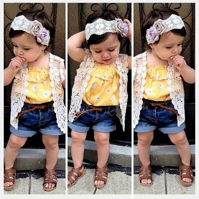 3 Pcs Baby Girls clothes Flower T-shirt + Net Outfit + Jeans Shorts 2015