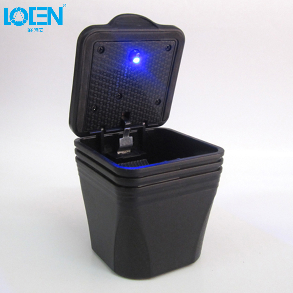 1PC <font><b>Square</b></font> black Car Ashtray blue Led Light office Travel Portable Safe Driving tobacco ash storage for toyota vw ford honda all