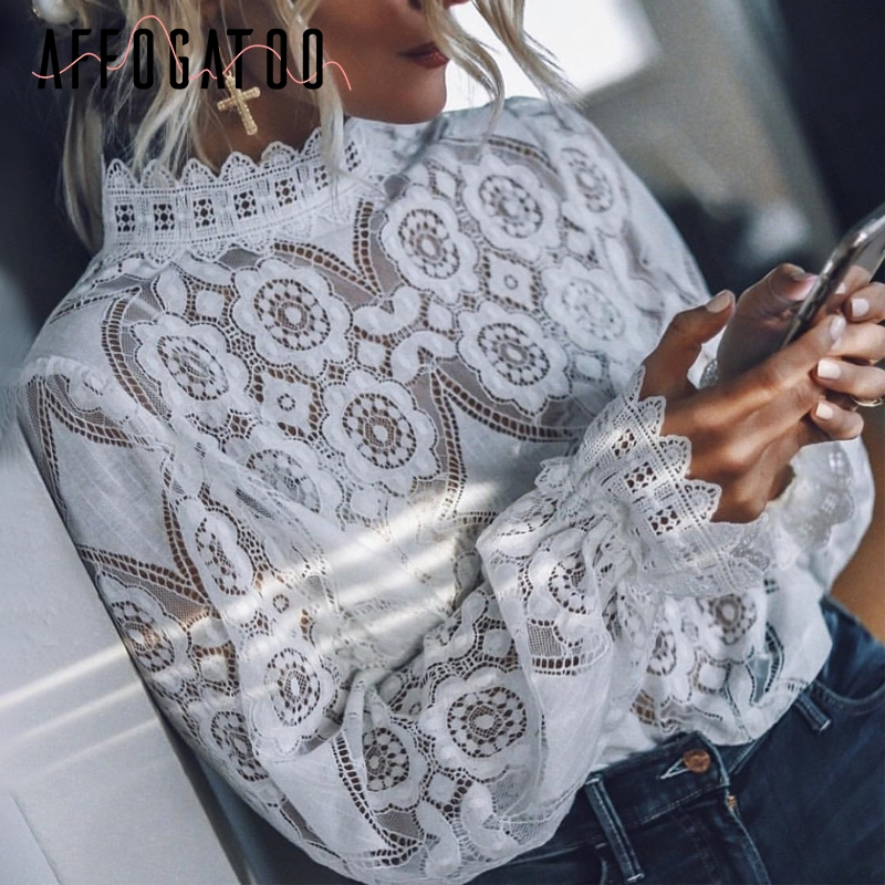 Affogatoo Elegant vintage lace women white   blouse     shirt   Embroidery lantern sleeve   blouse   Sexy summer transparent top female 2019