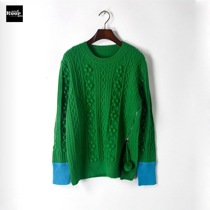 2018 New Pullover Sweater Women Runway Designer Casual Balls Warm Zipper Slim Sweaters Basic Autumn Winter Knitwear Jumpers Tops