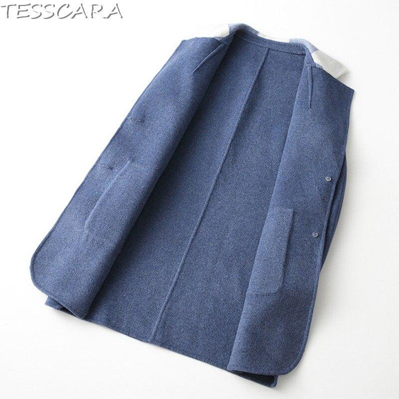 Veste De Manteau Femme Manteaux Cachemire Patchwork Mode khaki Automne Mélangée Tesscara Vestes Blue Et En Laine D'hiver Base Femmes Pardessus 4xwq7ICv