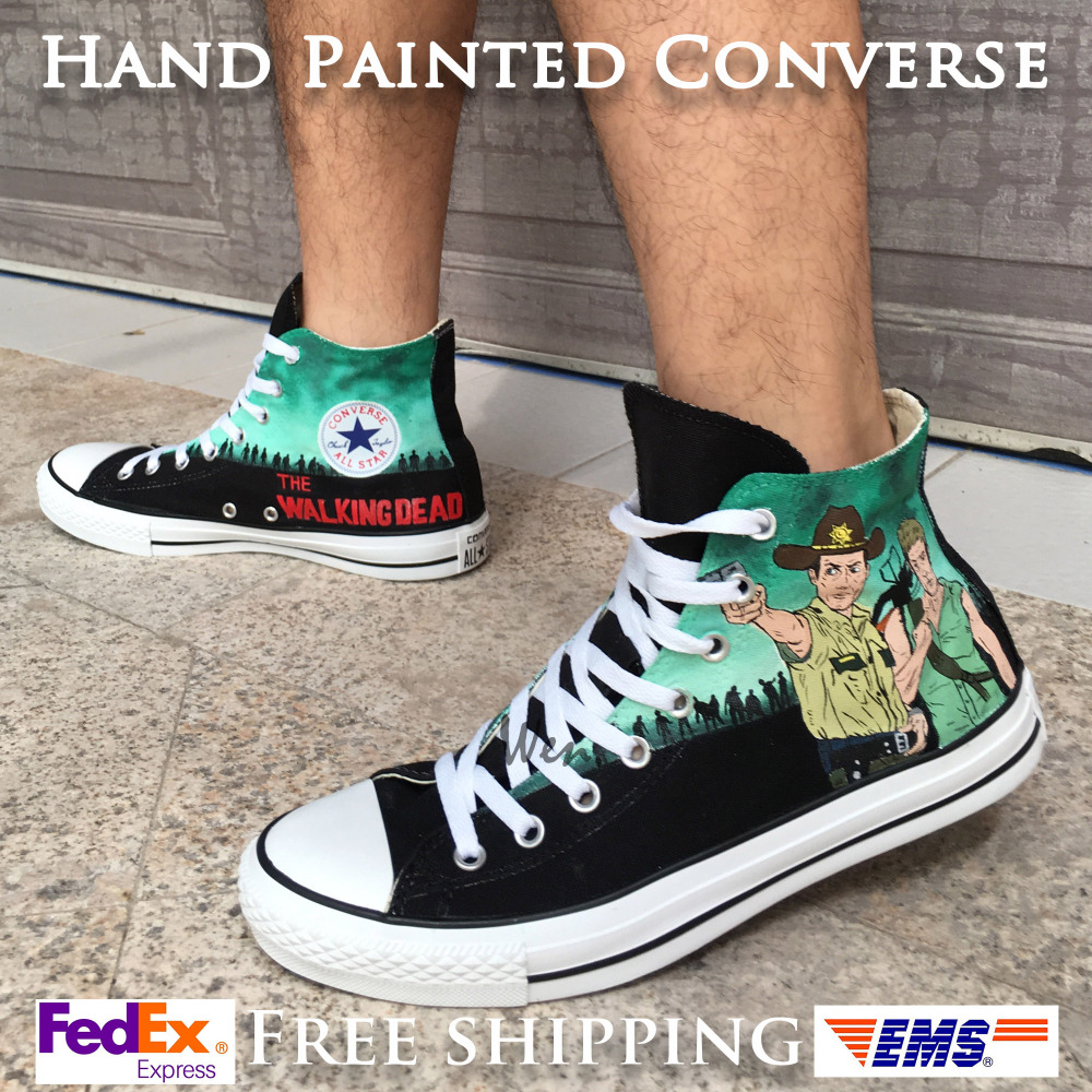 Walking dead converse shoes for sale - Aliexpress Com Buy Converse All Star Women Men Shoes Walking Dead Design Hand Painted Shoes Woman Man Sneakers Skateboarding Shoes Christmas Gifts From
