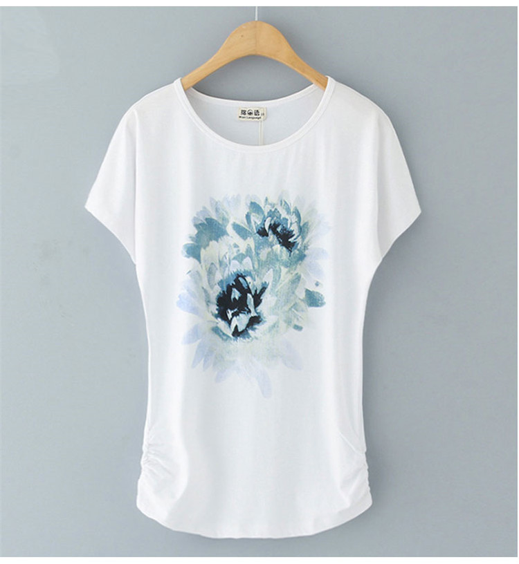 HTB1zCs9M4TpK1RjSZR0q6zEwXXac - Summer Female T Shirt New arrive Women's printing Short-sleeve White Cotton T-shirt women Loose Batwing Sleeve O-neck T-Shirt