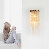 American Retro Iron Crystal Lamp Creative wall sconce Dining Room Bedroom Model Room bathroom Luxury Led Wall light