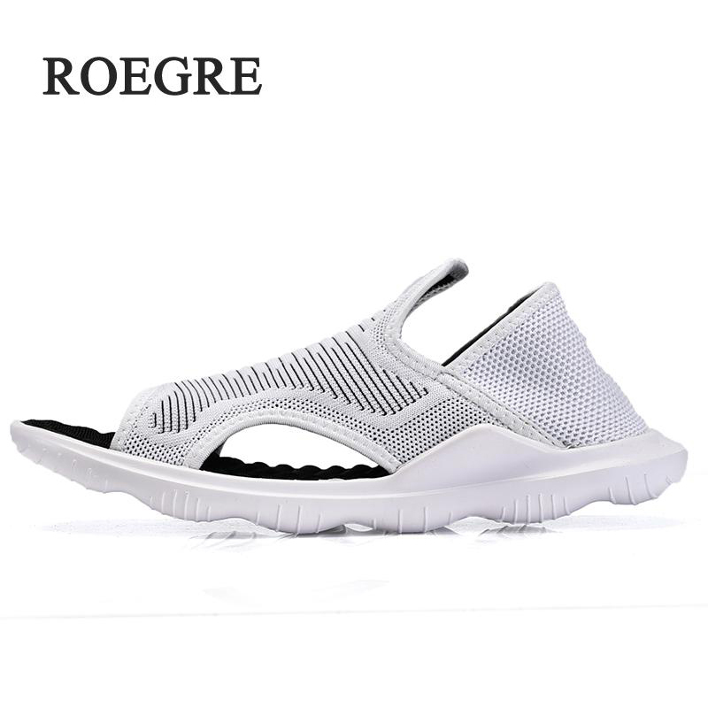 ROEGRE2018 Fashion high quality men sandals shoes superstar brand footwear male summer designer shoes black men casual shoes rub