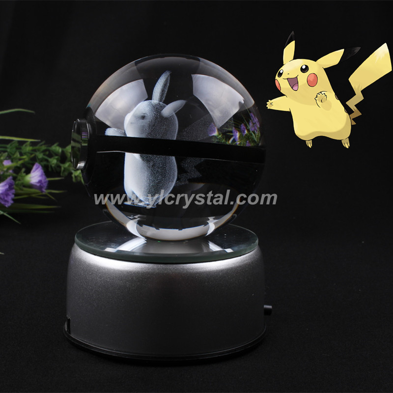 New Style Pokemon Ball With Pikachu Engraving Crystal Ball With LED Base With Gift Box