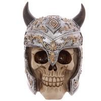 1Piece Horns Knight Skull Halloween Decorative Skull Helmet Ornament Horrible Skeleton For Party