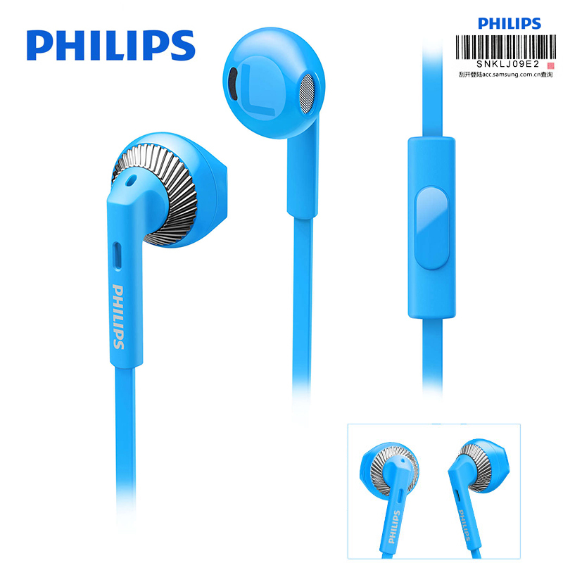 US $29 13 50% OFF|Philips SHE3205 Wired Earphone with Microphone Speaker  Support Computer Ipad MP4 Smartphone for Galaxy S9 S9 Plus Official Test-in