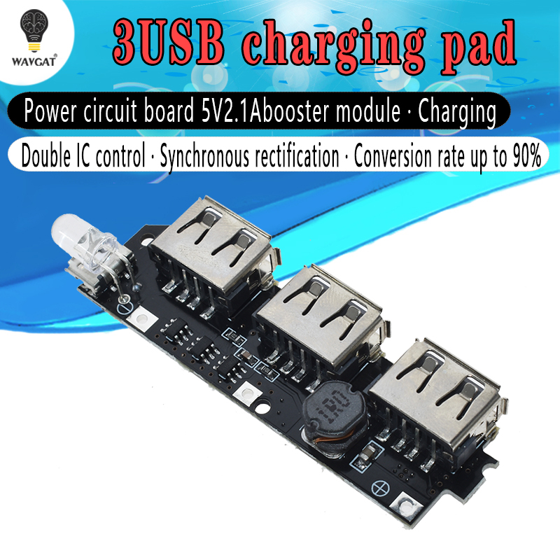 WAVGAT 5V 1A 1.5A 2.1A 3 USB <font><b>Power</b></font> <font><b>Bank</b></font> Charger Circuit <font><b>Board</b></font> Step Up Boost Module <font><b>18650</b></font> Li-ion Case Shell DIY Kit Powerbank image