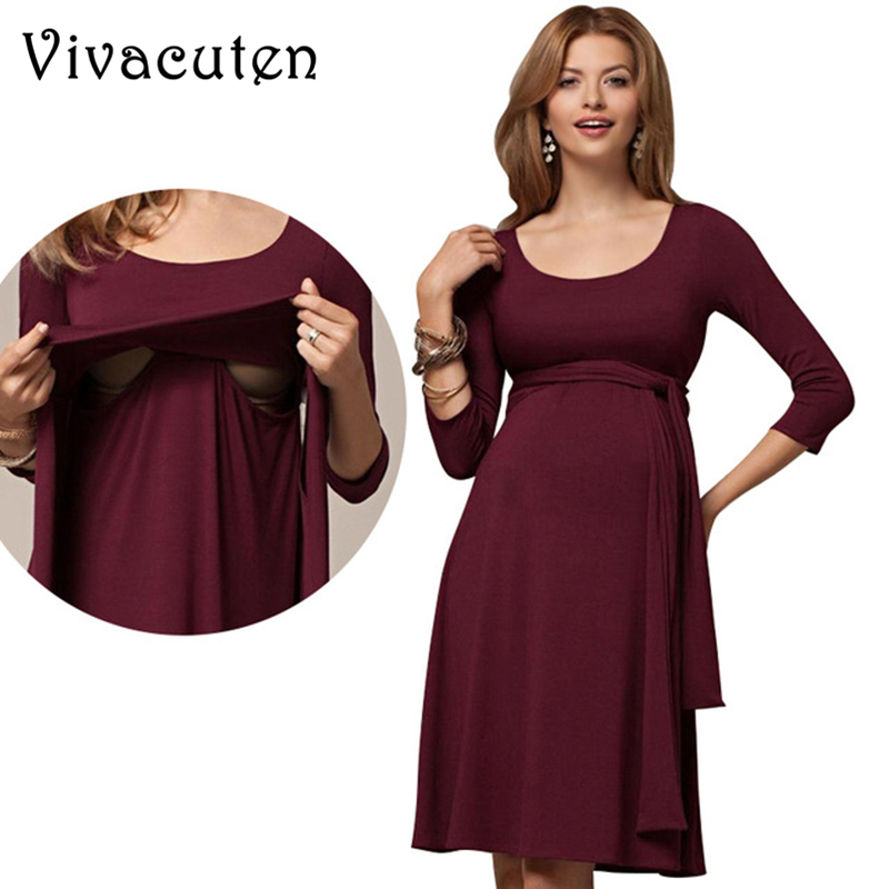 Maternity Dress Solid Pregnancy Nursing Dresses New Summer Casual Pregnant Women Clothes for Nursing Breastfeeding Dress M51