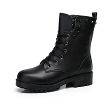 Motorcycle Boots Winter Leather Rough Motorbike Punk Martin Shoes British Windproof Waterproof Riding Short Shoes Velvet Botas