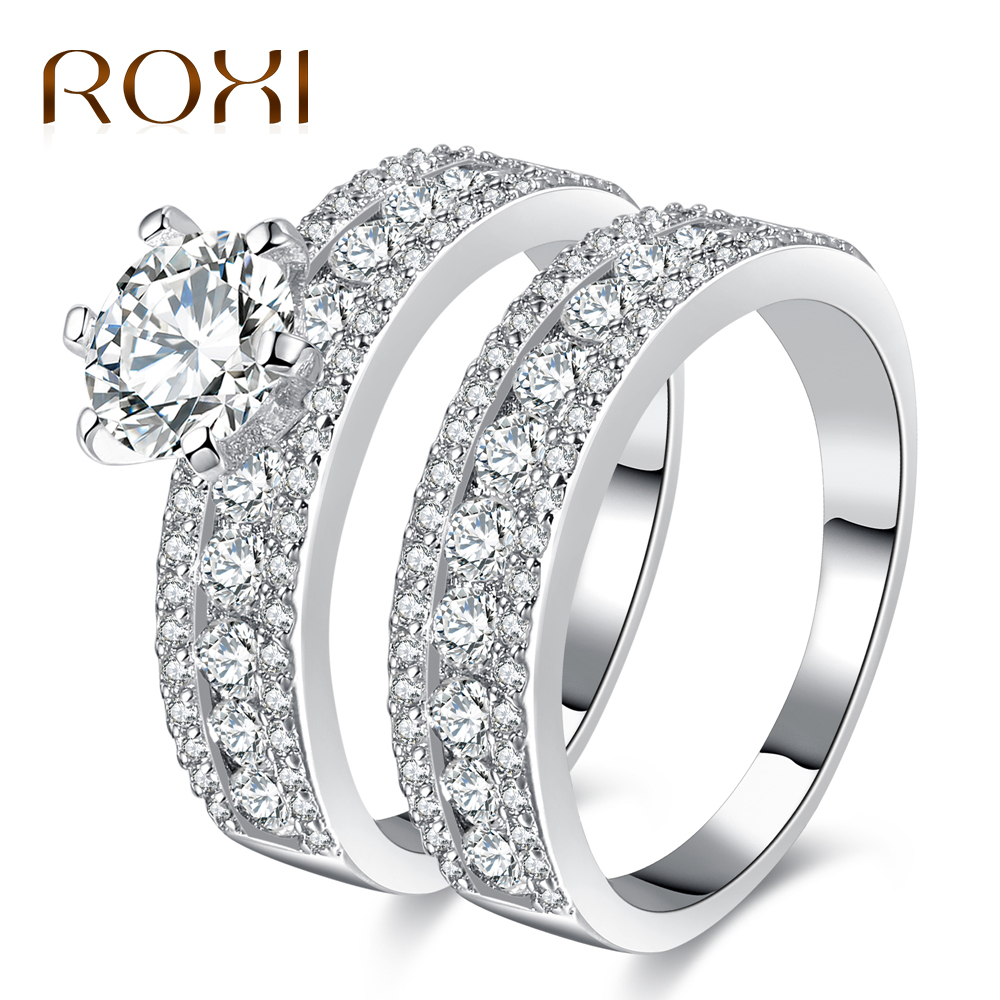 ROXI Wedding Ring Sets for Fingers Three Rows Sparking Cubic Zircon White Gold-color Luxury Engagement Ring anillos mujer 2017