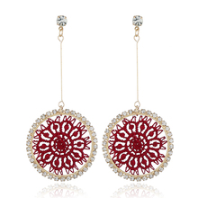 Korea Chic Drop For Earrings Women Shiny Crystal Weave Network Round Dangle Big gold Femme Charm Jewelry brincos 2018