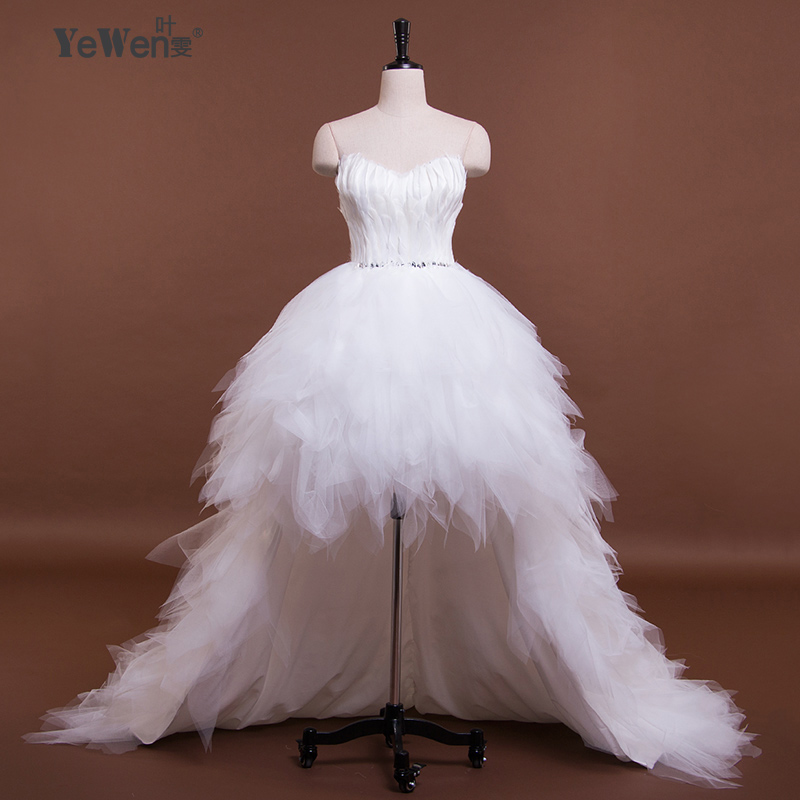 Ivory Sweetheart Ruffled Bling Sequins Feather Organza Short Front