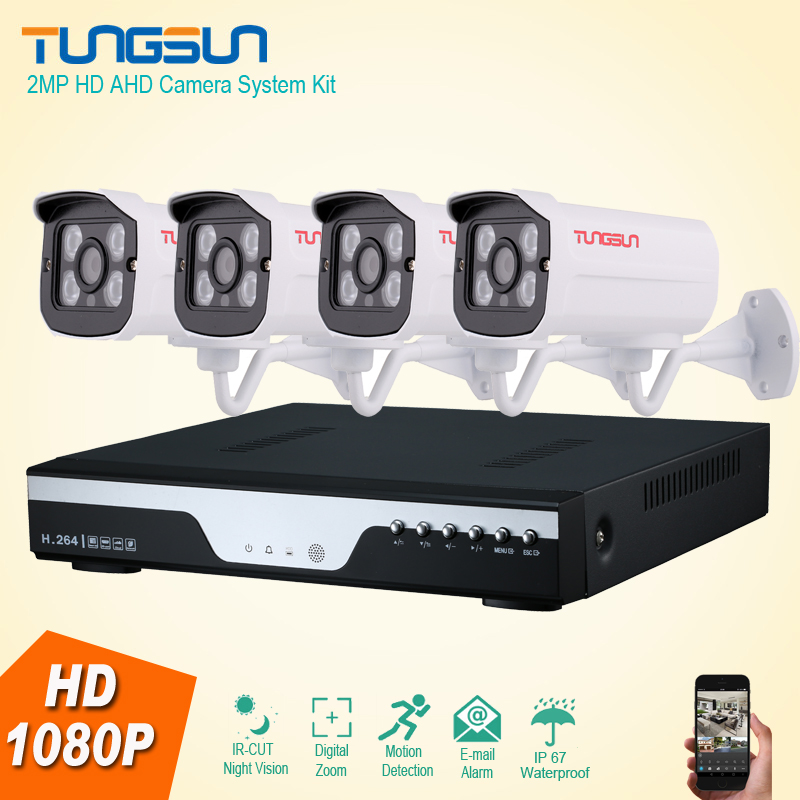 New 4 Channel HD AHD 2MP Home Outdoor Security Camera System Kit Array Video Surveillance 1080P CCTV System 4ch DVR kit cctv 4ch 1080p ahd recording kit with hd 2mp dome ir day night 4 channel ahd camera kit video surveillance home security system