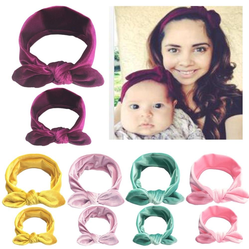 1Set/2pcs Women Kids Hair Bands Mom And Daughter Flower Headband Hair Velvet Bow Headbands Headwear Hair Accessories Gifts