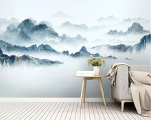 Купить с кэшбэком Beibehang Custom wallpaper New Chinese abstract Ink landscape TV background walls bedroom living room decoration 3d wallpaper