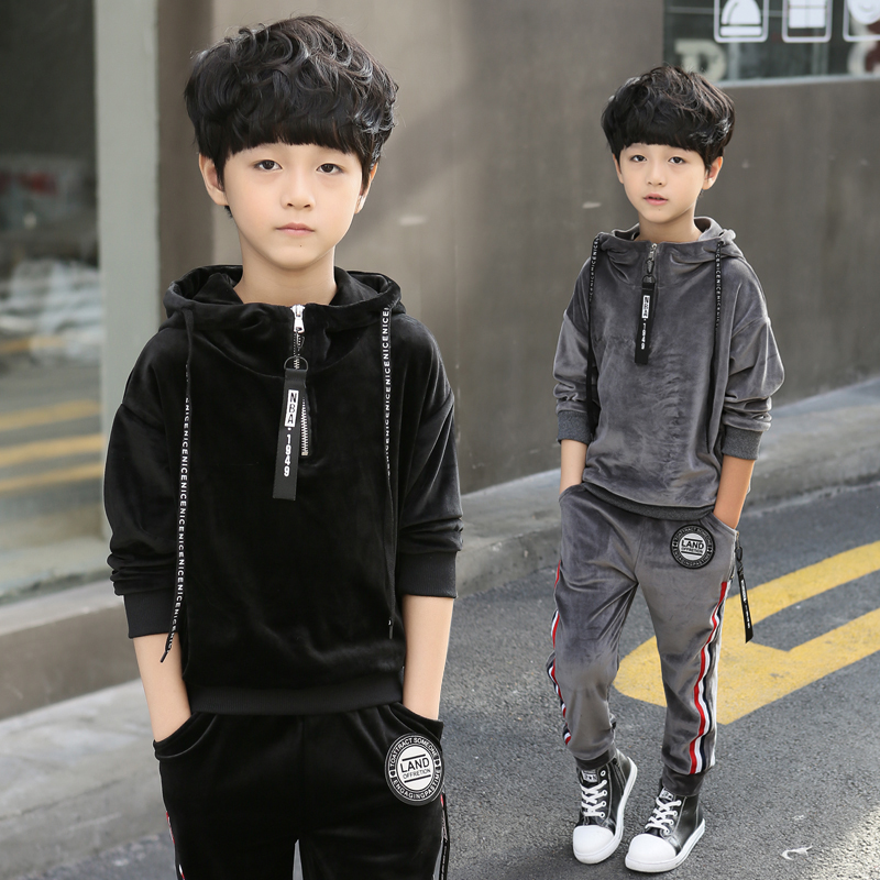 2018 Kids Clothes Boys Spring Autumn Pleuche Sports Suit Boys Set School Children Clothing Set 2pcs Sweatshirt+Pants Causal
