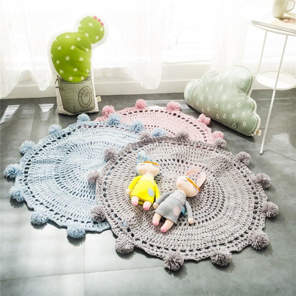 Nouveau tapis rond en Crochet pour chambre d'enfants décoration de chambre tapis et tapis décor à la maison bébé couverture tente jeu tapis Karpet 80cm