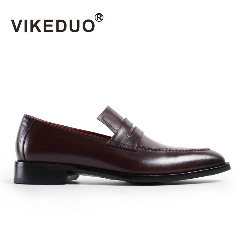 VIKEDUO Luxury Brand Vintage Handmade Mens Loafers Shoes Fashion Male Slip On Wine Red Footwear Genuine Leather Shoe Exclusive pl us size 38 47 handmade genuine leather mens shoes casual men loafers fashion breathable driving shoes slip on moccasins