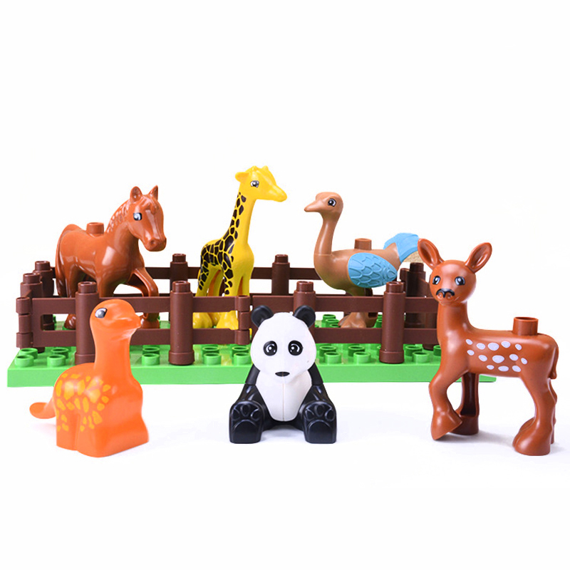 5Pcs-50pcs DIY Big Size Farm Dinosaur Animal Series Building Blocks Sets Bricks Compatible with Duploe Toys  for children  (4)