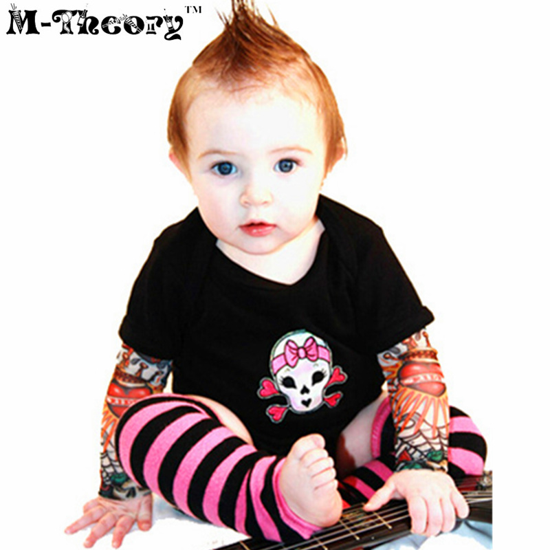 M-theory 1pcs Kid Size Sleeve Arm Tattoos Stockings Leggings Henna 3D Biker Temporary Rocker Body Arts Makeup Tools