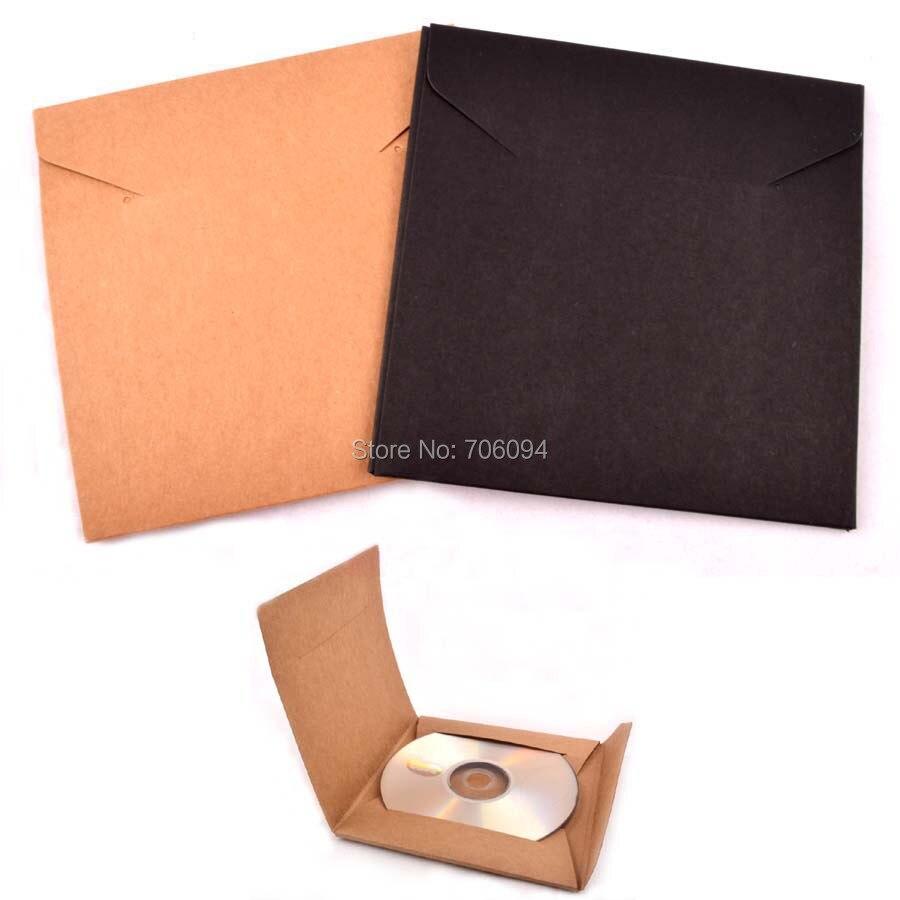 100PCS 13x13cm gift Invitation Storage Paper Bag Wedding CD Envelopes Black Kraft Brwon CD/DVD Paper bag custom logo CD sleeve
