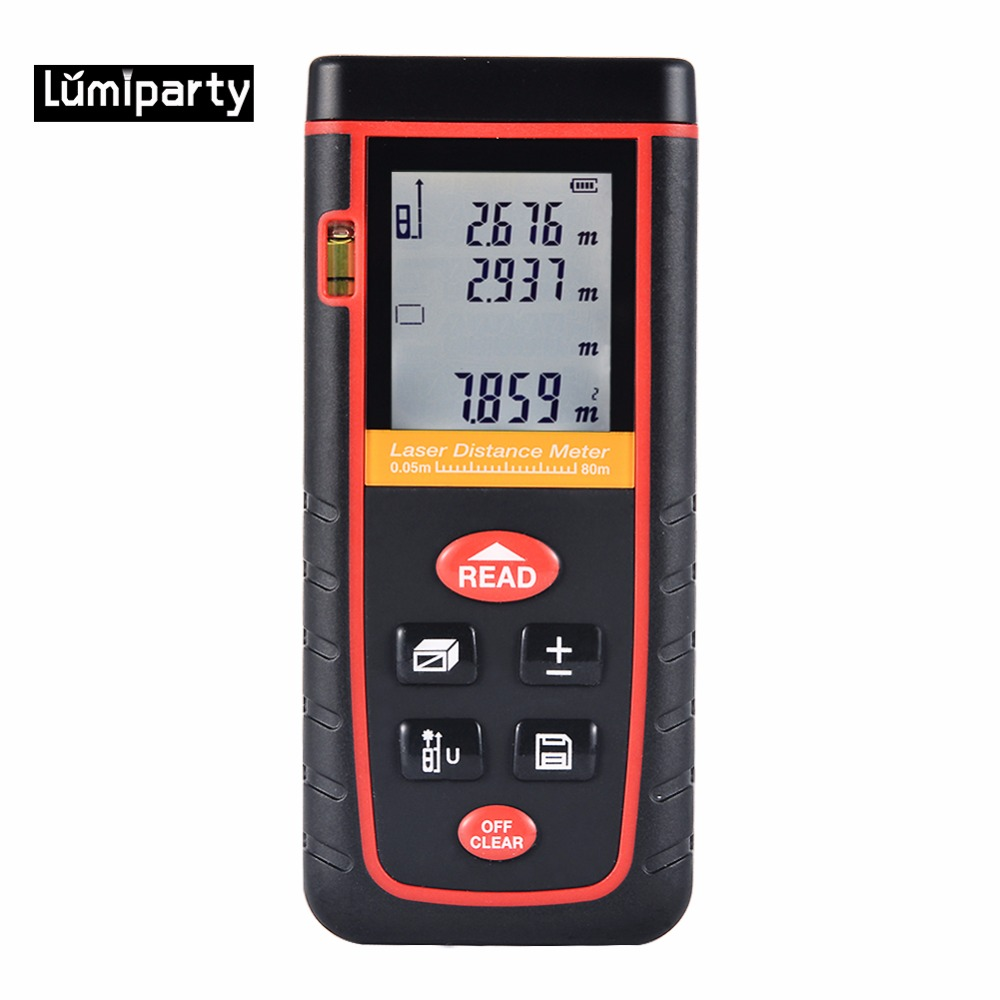 ФОТО Lumiparty 80M Handheld Precision Safety Laser Distance Meter Digital Laser Range Finder Measuring Portable Measure Diastimeter