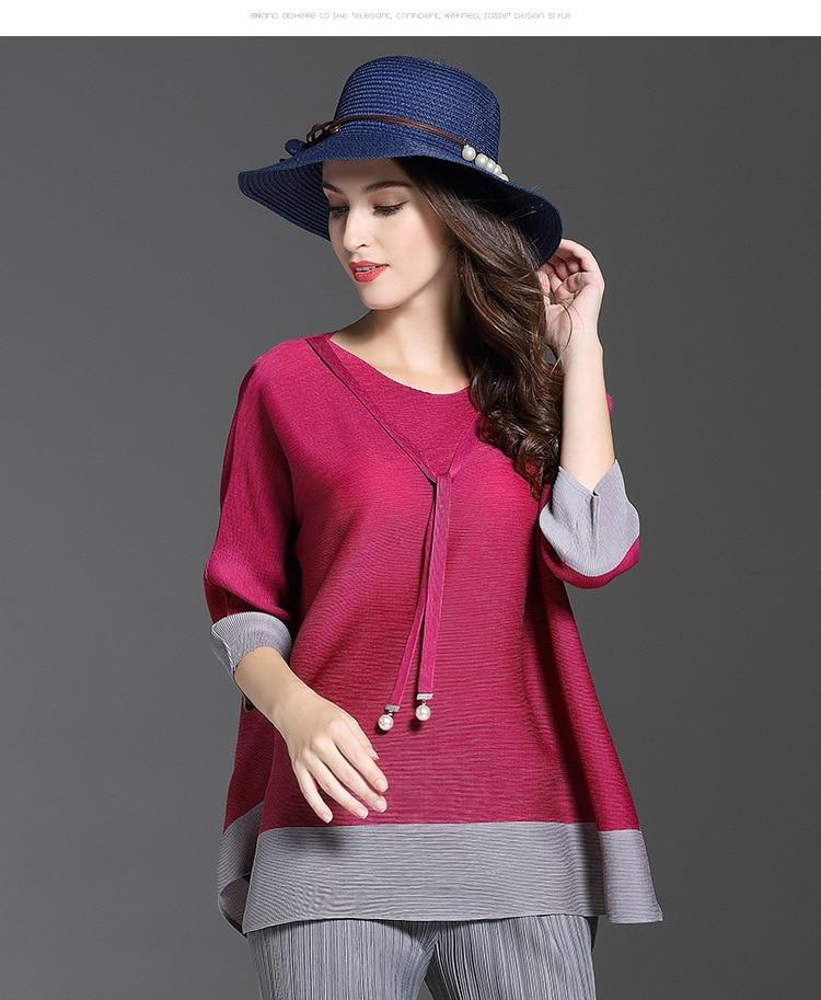 Micosoni Quality 2017 Autumn New Women s European T shirts Fashion Stitching Three Ouarter O neck