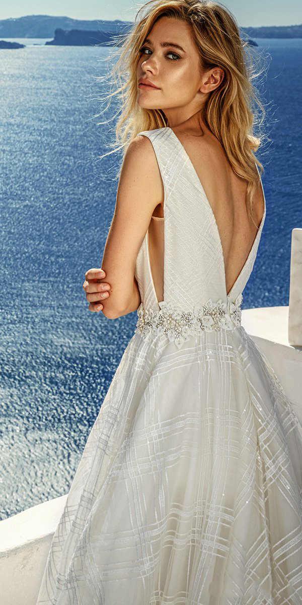 ブラシトレインビーチウェディングドレス V ネックブライダルドレスローブ夜会ヴィンテージアリーンセクシーなブライダルドレス vestido ロンゴフェスタ背中