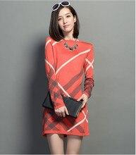 Новый 2017 женское платье осень-зима Для женщин шерстяной вязаный большой Размеры с длинными рукавами в полоску цельный теплая шерсть Платья-свитеры