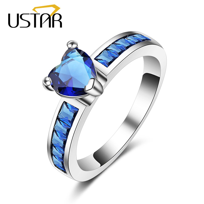USTAR NEW Heart Blue Crystals wedding Rings for women White Gold color AAA Zircon engagement rings female Anel top quality