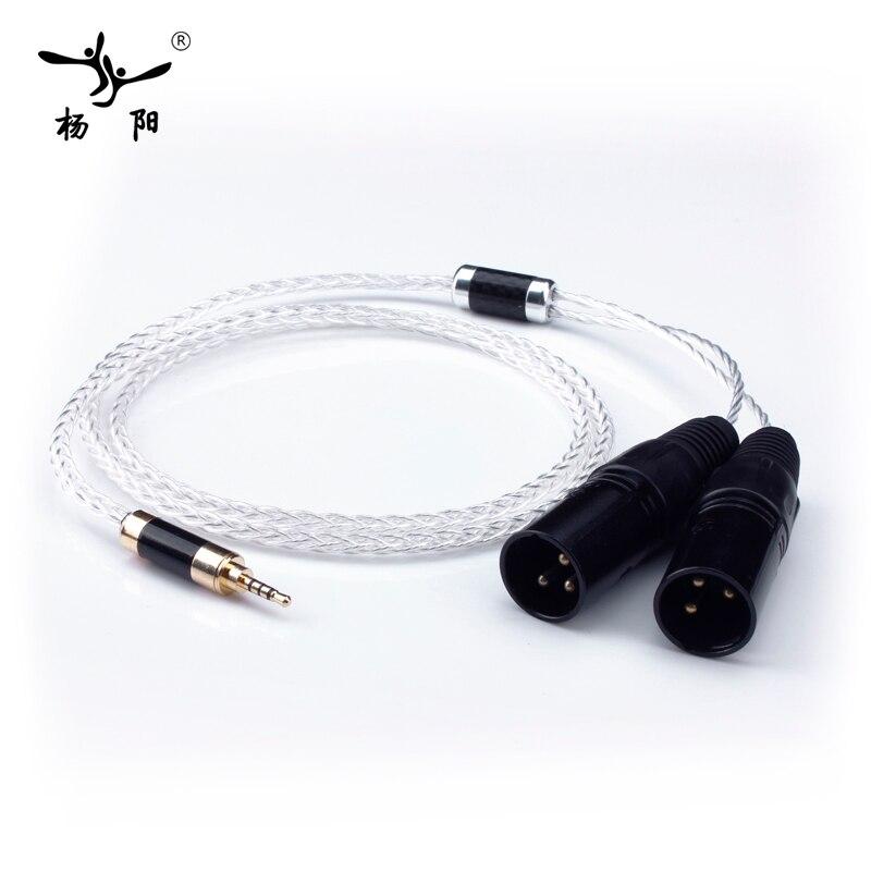 Yyaudio plateado HiFi 2.5mm trrs equilibrado a 2 XLR macho cable para Astell & Kern AK100II, AK120II, AK240, AK380, AK320, DP-X1