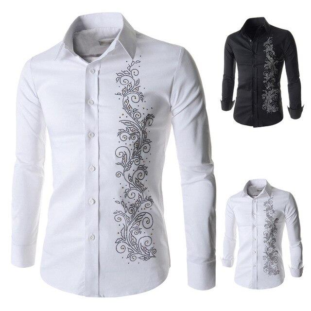 Vestido de Noche de la manera de Los Hombres Camisa Casual Camisa de manga larga hombres de La Manera Delgada de Impresión Decoración Del Diamante de Los Hombres Camisa de Vestir MY257