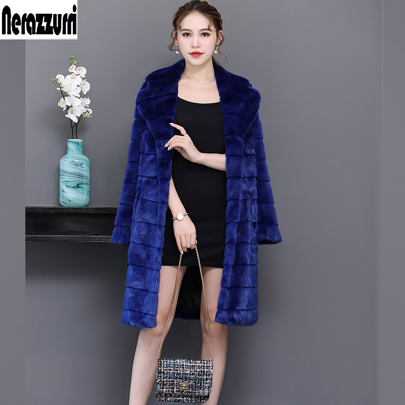 Nerazzurri Faux Fur Coat Women 2019 Winter Striped Sapphire Blue Furry Fluffy Fake Mink Fur Jackets Plus Size Outwear 5xl 6xl