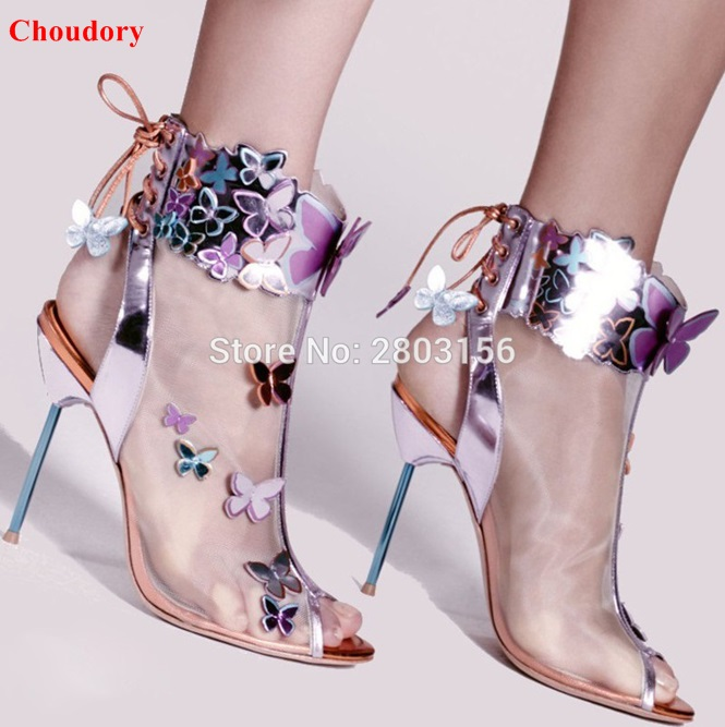 Фото Newest Luxury Gladiator Sandals Boots Women Butterfly Peep Toe Mesh Summer Ankle Boots Sexy Lady High Heel Party Shoes